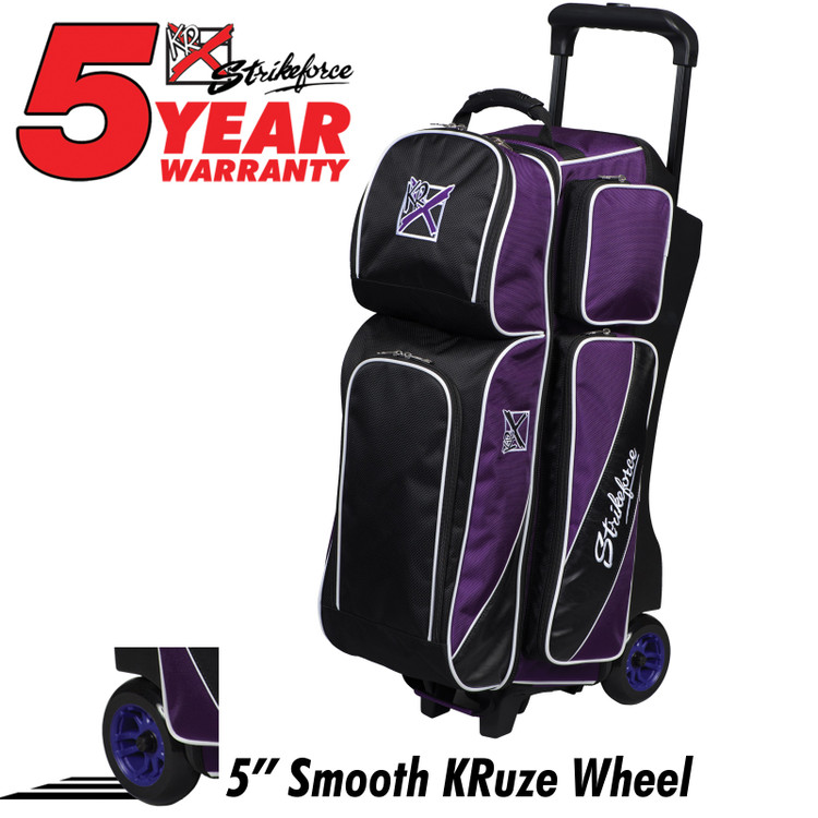 KR Fast 3 Ball Triple Roller Bowling Bag Purple Black