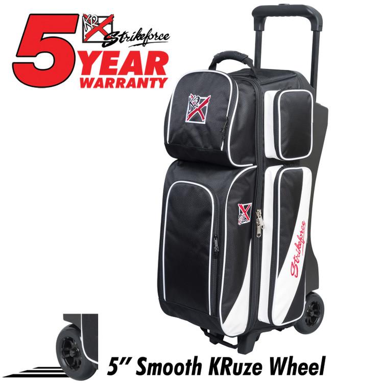 KR Fast 3 Ball Triple Roller Bowling Bag Black White