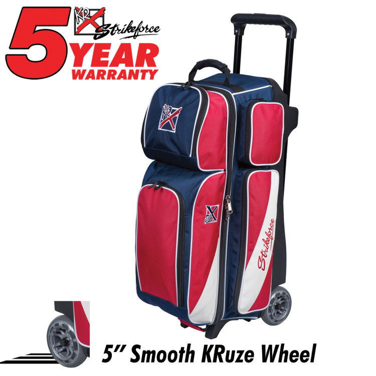 KR Fast 3 Ball Triple Roller Bowling Bag Red White Blue