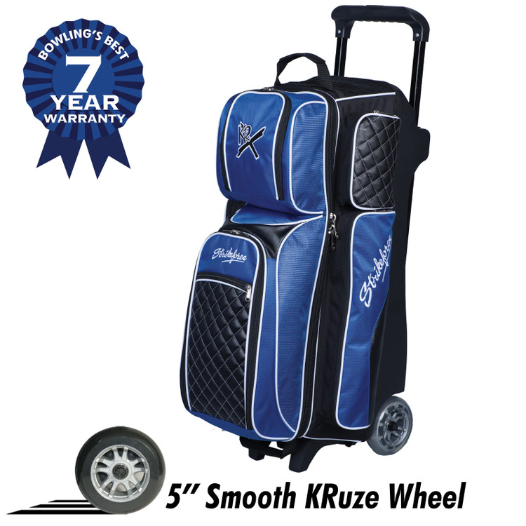 KR Strikeforce Royal Flush Triple 3 Ball Roller Bag Black Royal