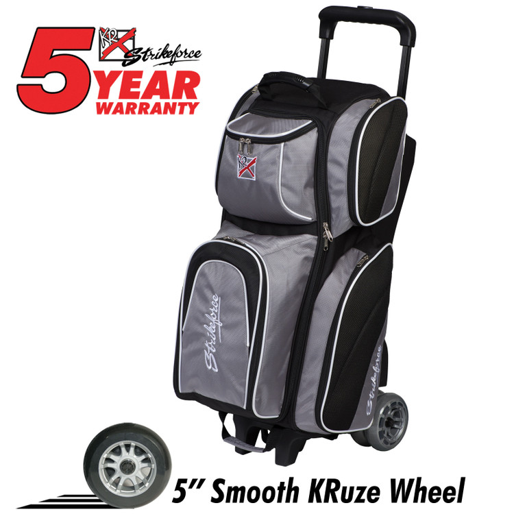 KR Strikeforce Apex 3 Ball Roller Bowling Bag Silver