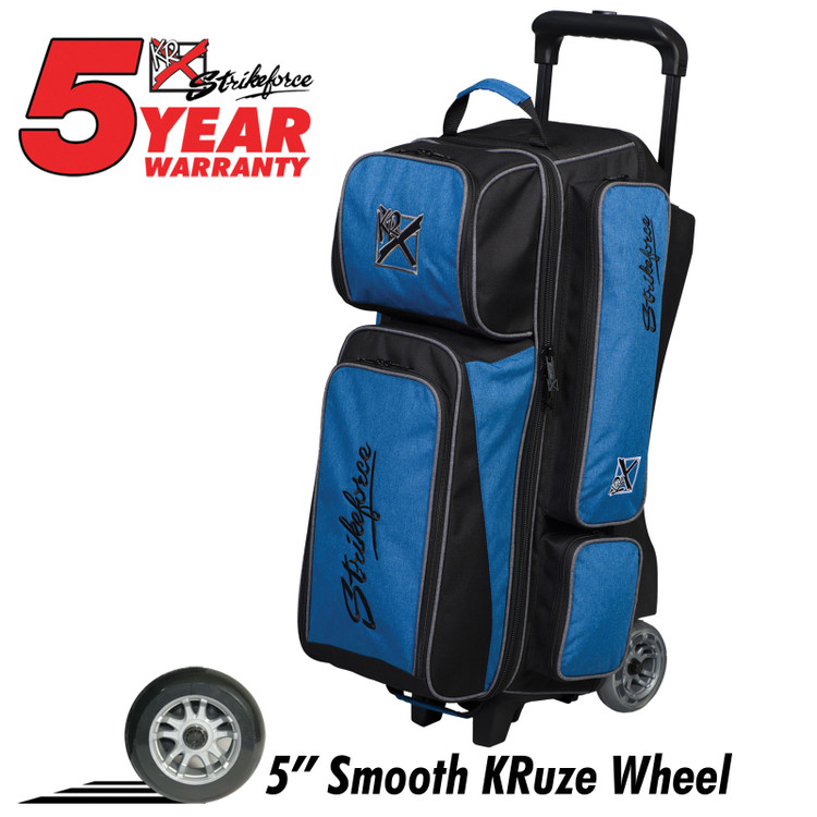 KR Krush 3 Ball Roller Bowling Bag Blue Black