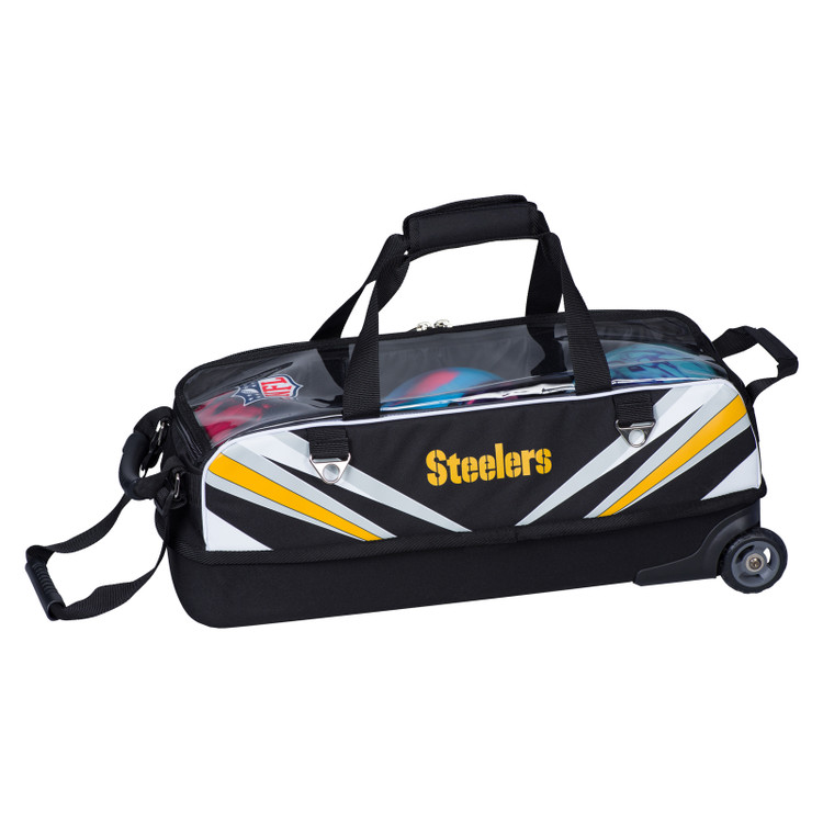 KR NFL 3 Ball Slim Triple Roller Tote Bowling Bag Pittsburgh Steelers