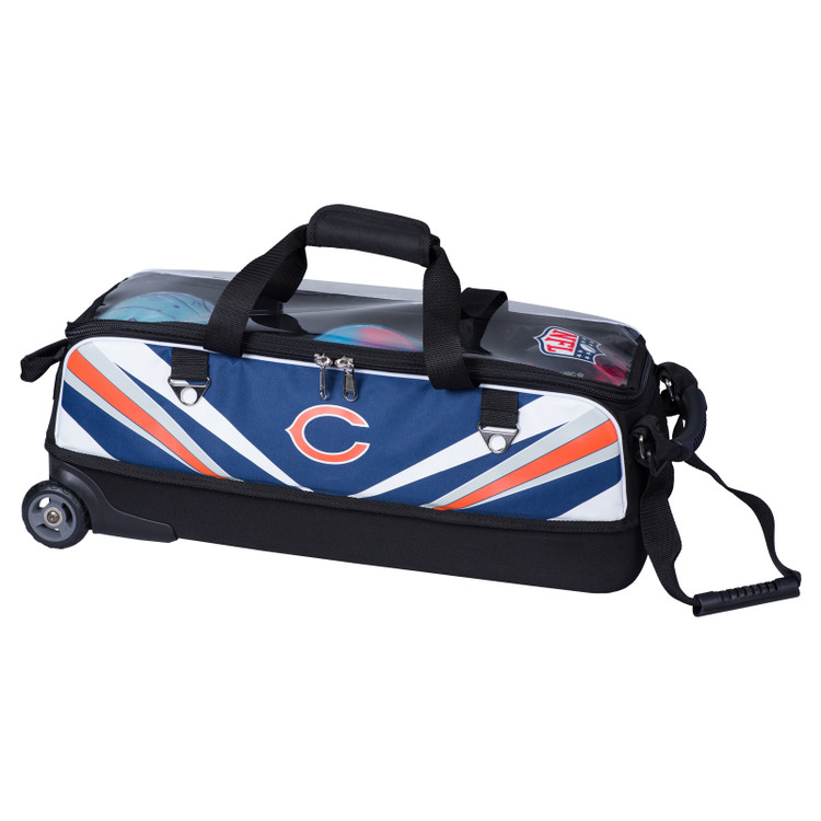 KR NFL 3 Ball Slim Triple Roller Tote Bowling Bag Chicago Bears