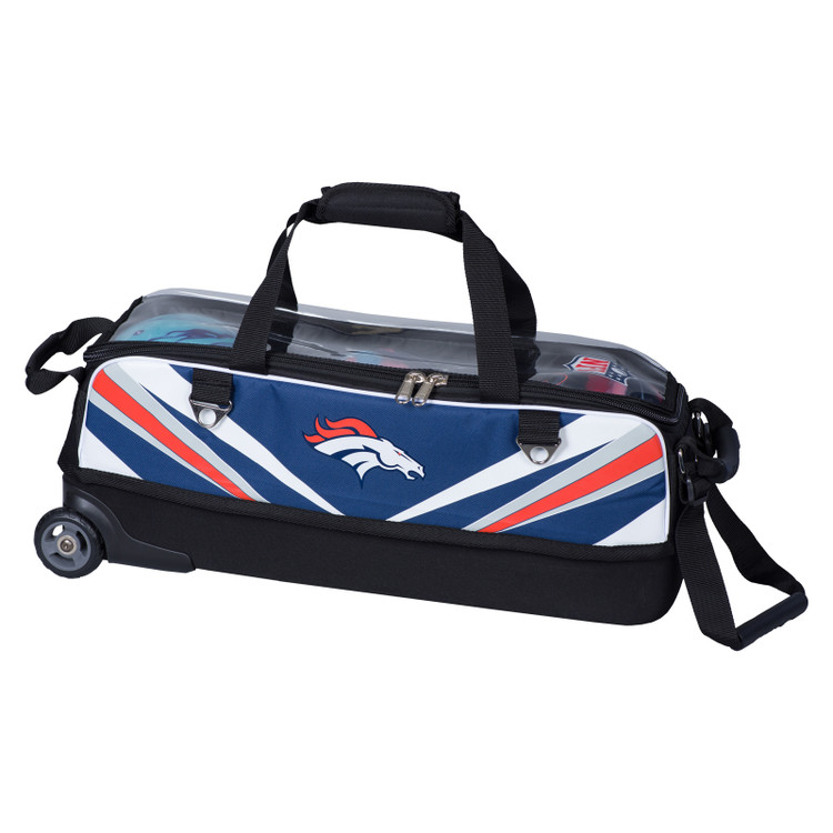 KR NFL 3 Ball Slim Triple Roller Tote Bowling Bag Denver Broncos