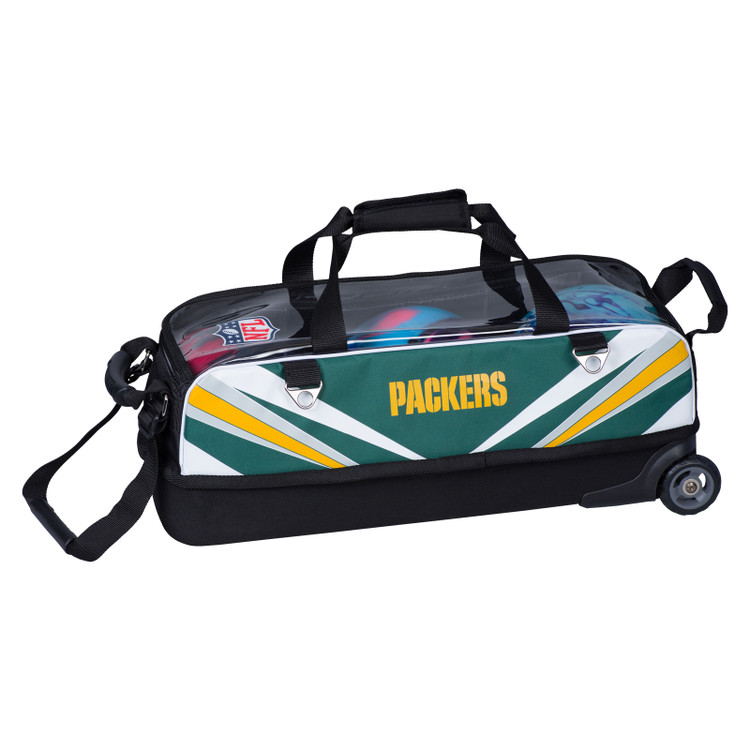 KR NFL 3 Ball Slim Triple Roller Tote Bowling Bag Green Bay Packers