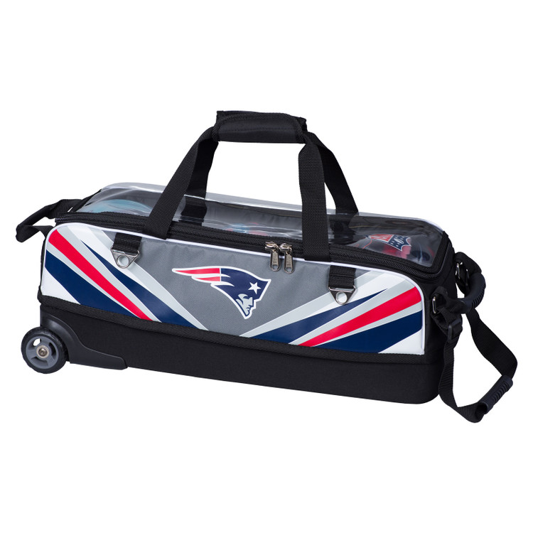KR NFL 3 Ball Slim Triple Roller Tote Bowling Bag New England Patriots