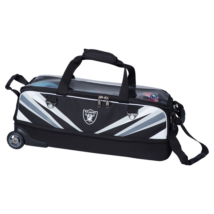 KR NFL 3 Ball Slim Triple Roller Tote Bowling Bag Raiders