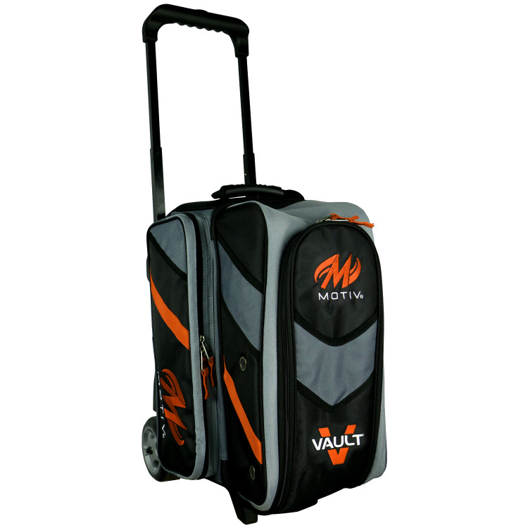 Motiv Vault 2 Ball Double Roller Bowling Bag Black Orange