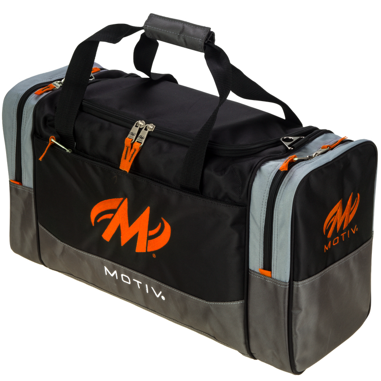 Motiv Shock 2 Ball Double Tote Bowling Bag Black Orange