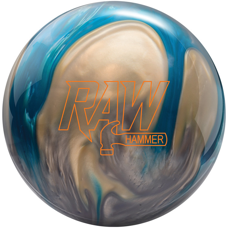 Hammer Raw Bowling Ball Blue Silver White Front View