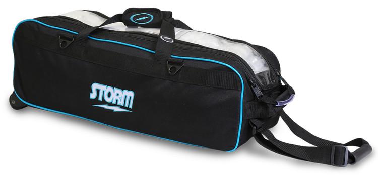 Storm Tournament 3 Ball Triple Roller Bowling Bag Black Blue