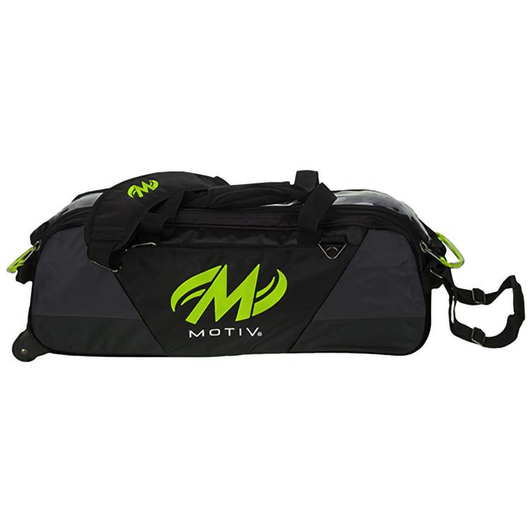 Motiv Ballistix 3 Ball Triple Tote Roller Bowling Bag Lime Gray