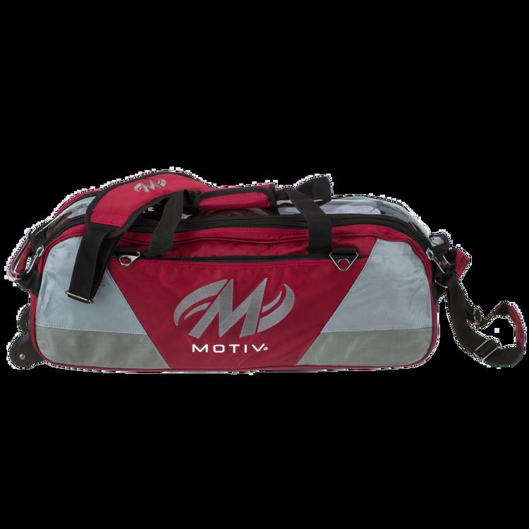 Motiv Ballistix 3 Ball Triple Tote Roller Bowling Bag Red