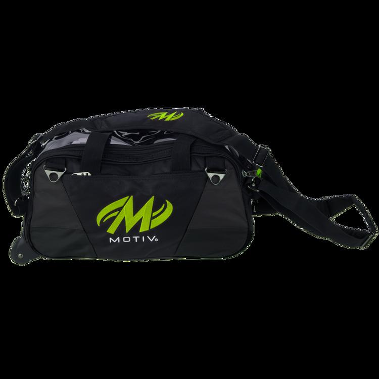 Motiv Ballistix 2 Ball Double Tote Roller Bowling Bag Lime Gray