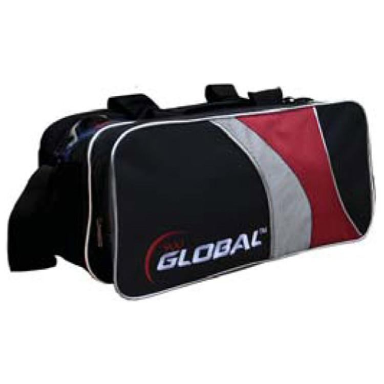 900 Global 2 Ball Travel Tote Bowling Bag Black Red Silver