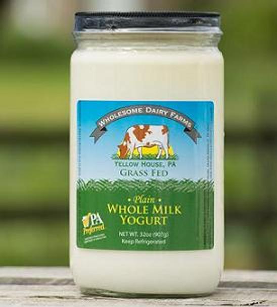 Cow's plain Yogurt quart, made from  Wholesome dairy farm 100% grass fed milk