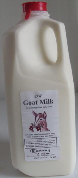 Raw Goat Milk, Kirchenberg farm, 1/2 gallon