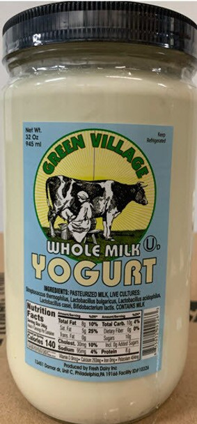 Green Village Whole Milk Yogurt French Style Quart 32 oz