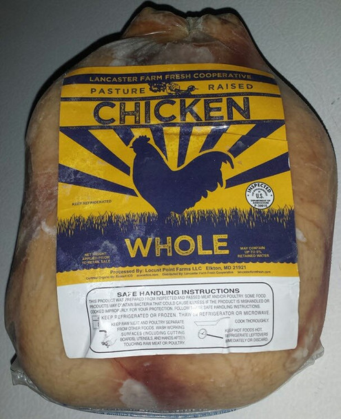 Young Meat Chicken Whole, Non-GMO, fully pastured from Lancaster Farm Fresh Coop