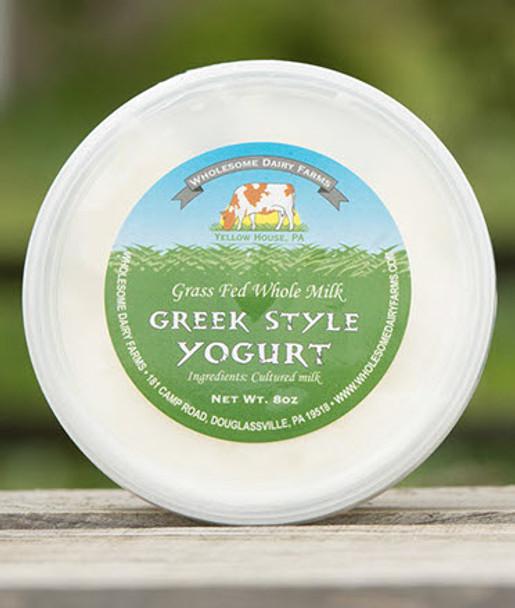 Organically raised Cow's Plain Greek yogurt, made from  Wholesome dairy farm, 100% grass fed milk (8 oz)