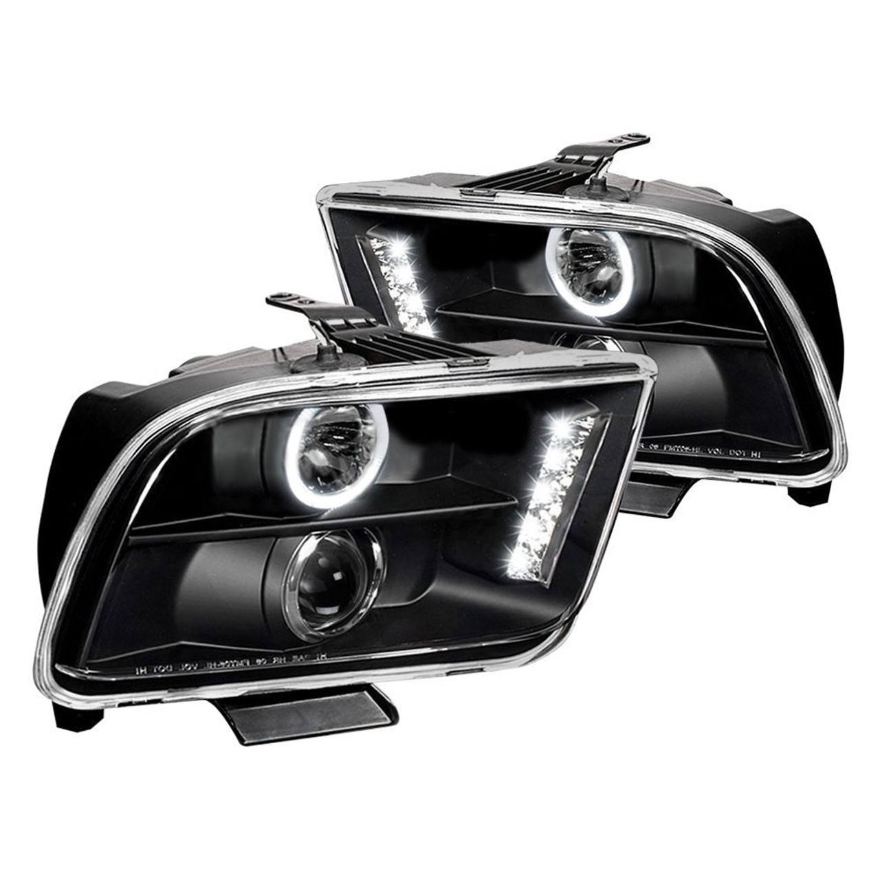 Junyan 05 09 ford mustang halo projector headlights black