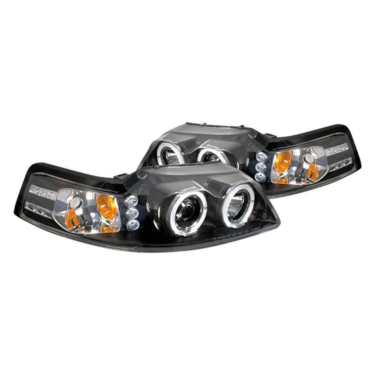 1999 2004 Mustang Headlights Projector Halo LED In Black Housing