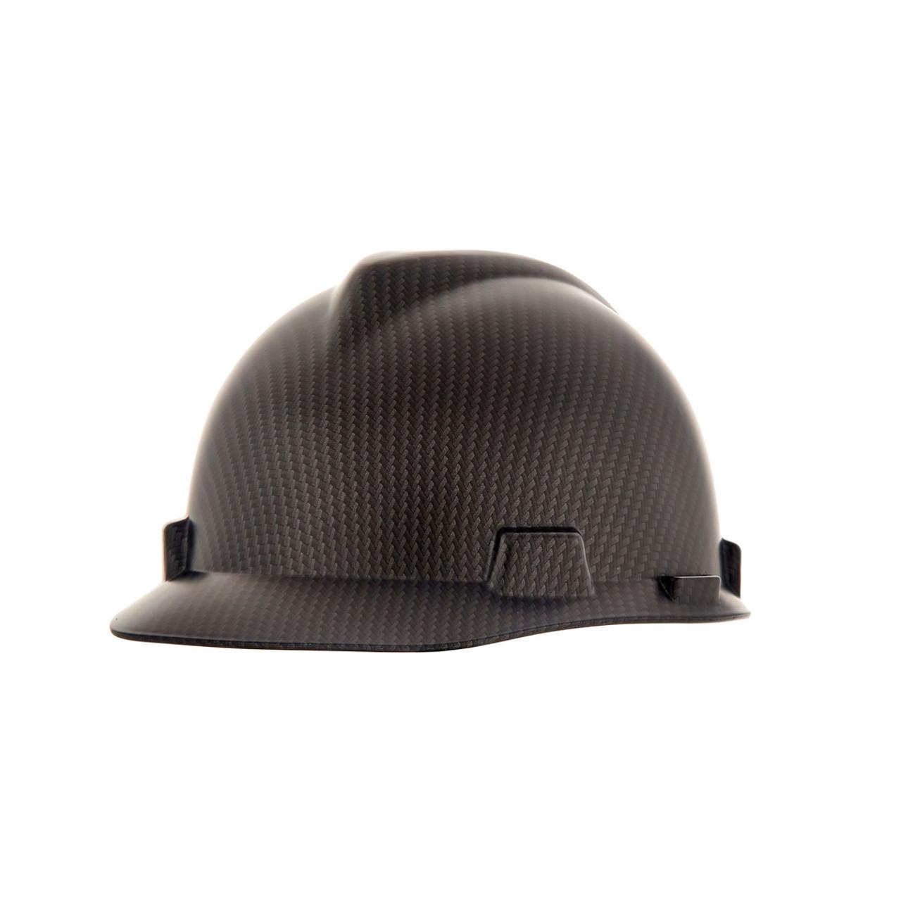 Hard Hat MSA V-Gard Cap Style Custom Truue Weave Carbon Fiber Hydro Dipped