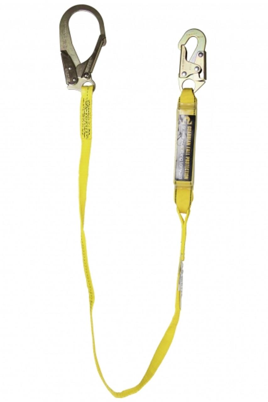 Guardian 01214 3/' Shock Absorbing Lanyard Single Leg with Snap Hooks