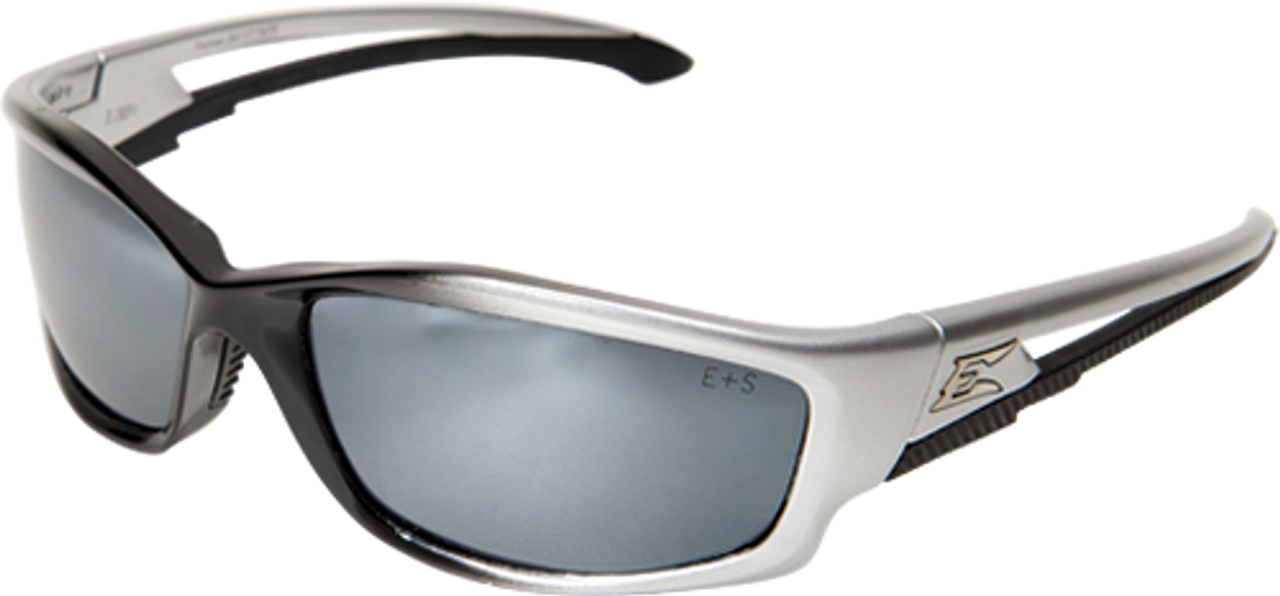 Kazbek Sunglasses Blue Mirror Lens Edge® Safety Eyewear Silver Gradient Frame