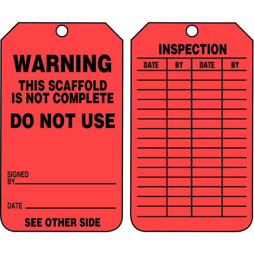Accuform TRS322CTP Scaffold Status Safety Tag: Warning- Do Not Use