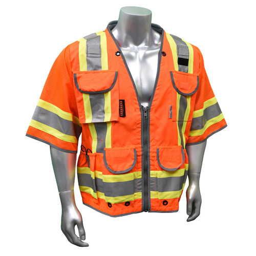 Radians SV55-3 Class 3 Heavy Woven Hi Viz Orange Engineer Vest