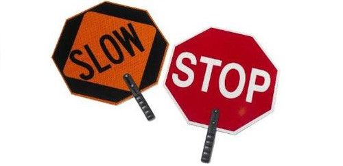 """Cortina 03-851 ABS Plastic Paddle Sign """"STOP/SLOW"""" 27"""" H Red on Orange"""
