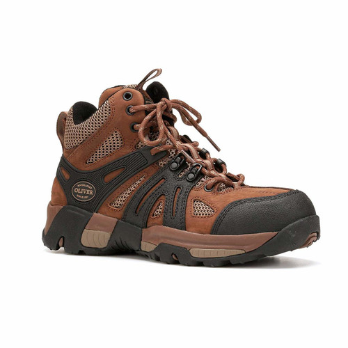 Oliver Mens Brown/Black Leather Mid-hiker Work Boots