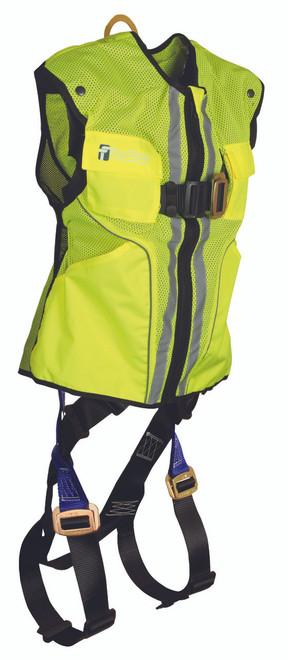 FallTech 7015L Lime Hi-Vis Vest and Premium Contractor Harness