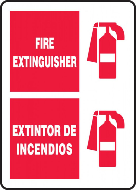 Accuform SBMFXG903VP Bilingual Fire Safety Sign: Fire Extinguisher