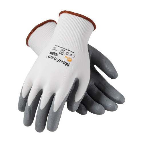 MaxiFoam 34-800 White Glove with Nitrile Coated Foam Grip (Dozen)
