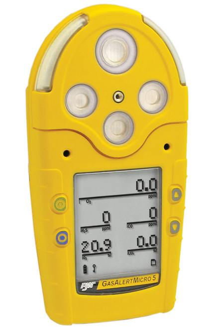 BW GasAlertMicro % LEL (filtered), O2, H2S, CO, NH3 - alkaline batteries and pump - yellow housing