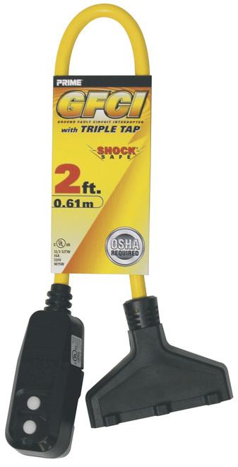 Prime Wire GF420802 Triple Tap Adapter 2' 12/3 with GFCI Plug