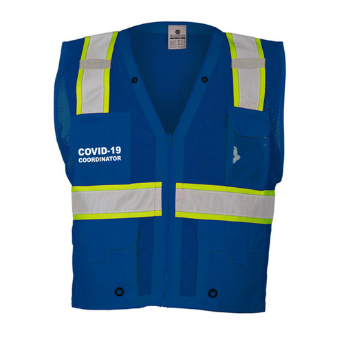 Enhanced Visibility Mesh Blue Vest with COVID-19 Coordinator Front and Back
