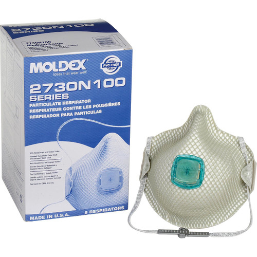 Moldex 2730N100 Particulate N100 Respirator with HandyStrap and Ventex Valve (5/Box)
