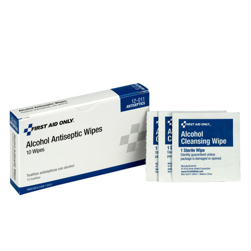 First Aid Only 12-011 Alcohol Wipes 10 per Box (10/Boxes)