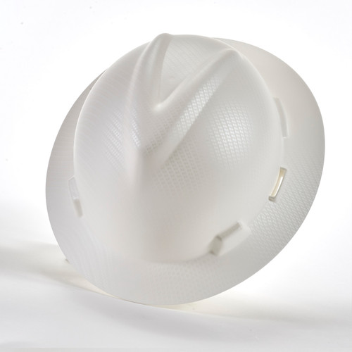 MSA 10204785 Silver Carbon Fiber V-Gard Hydro Dip Hard Hat with Fast trac III