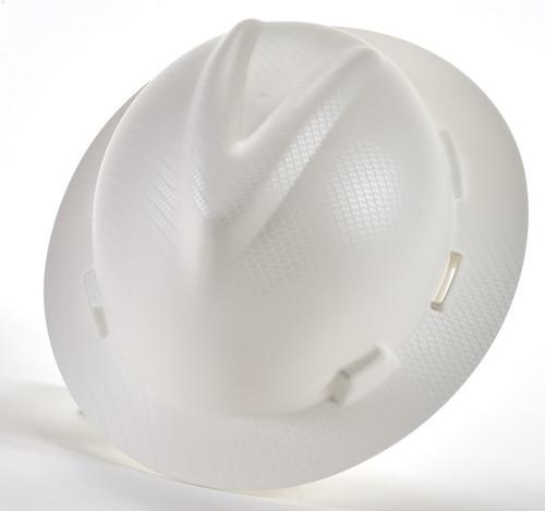 MSA Silver Carbon Fiber V-Gard Hydro Dip Hard Hat with Fast trac III