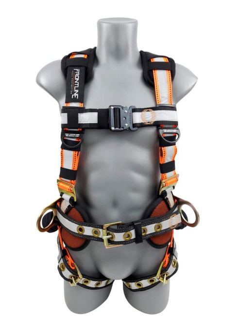Frontline 100RCTB Reflective Construction Full Body Harness with Tongue Buckle Legs and Trauma Straps