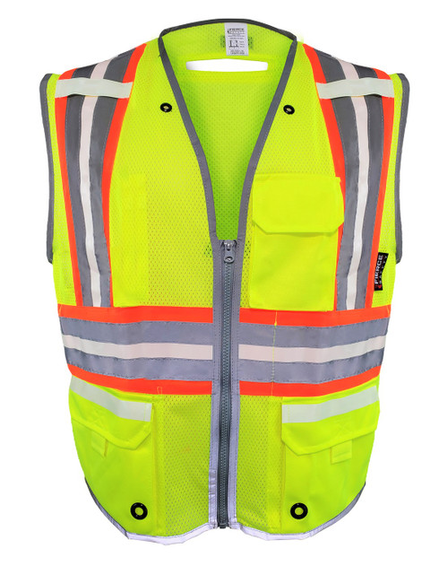 Fierce Safety LU300G Class 2 Luminous Reflective Premium Surveyors Vest