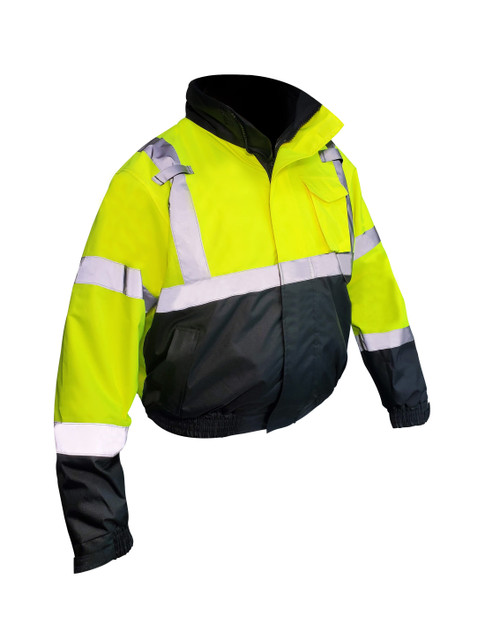 Fierce Safety 3-in-1 Superior Hi-Vis Lime Class 3 Bomber Safety Jacket with Fleece