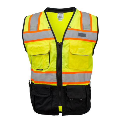 Fierce Safety Premium Surveyors Class 2 Heavy Duty Vest, Tablet Pockets and Neck Padding