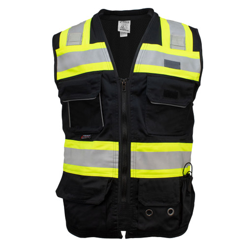 Fierce Safety SU500B Premium Surveyors Class 1 Black Vest with Tablet Pocket