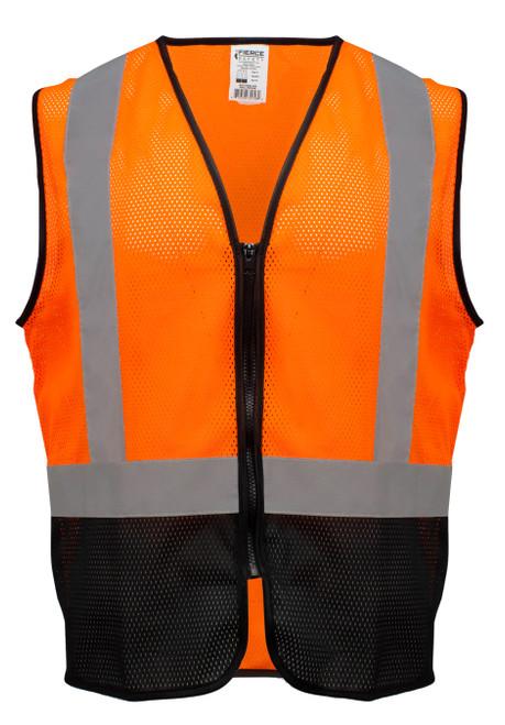 Fierce Safety EC100OB Class 2 Economy Orange Meshed Vest w/ Black Bottom and Zipper Closure